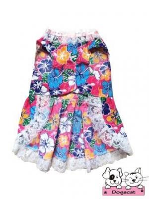 เสื้อสุนัข เสื้อหมา เสื้อน้องหมา เสื้อผ้าหมา เสื้อแมว เสื้อผ้าสุนัข เดรสลายดอก61 สีชมพู