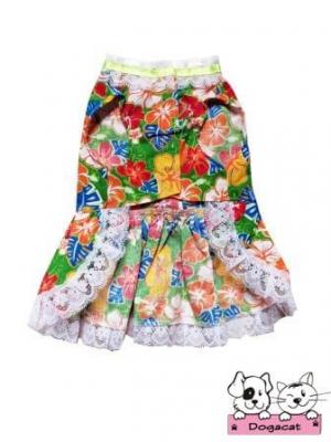 เสื้อสุนัข เสื้อหมา เสื้อน้องหมา เสื้อผ้าหมา เสื้อแมว เสื้อผ้าสุนัข เดรสลายดอก61 สีเขียว