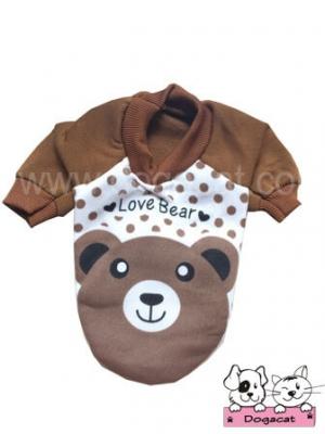 เสื้อสุนัข เสื้อหมา เสื้อผ้าสุนัข เสื้อผ้าหมา เสื้อแมว love bear สีน้ำตาล