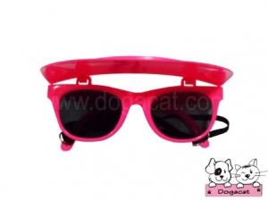 แว่นสุนัข แว่นหมา แว่นน้องหมา แว่นแมว กันแดด สีชมพูแสด