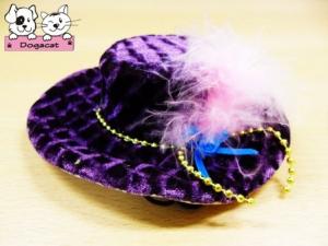 หมวกสุนัข ทรงปีกบานลาย สีม่วง