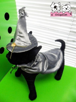 หมวกสุนัข พ่อมด สีเทา พร้อมผ้าคลุม