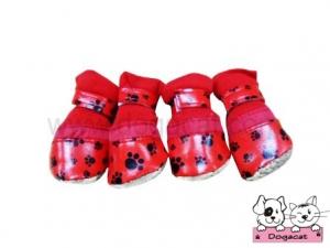 รองเท้าสุนัข รองเท้าหมา รองเท้าแมว ลายรอยเท้าสุนัข สีแดง