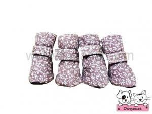 รองเท้าสุนัข รองเท้าหมา รองเท้าแมว สีชมพูวินเทจ ลายดอกไม้