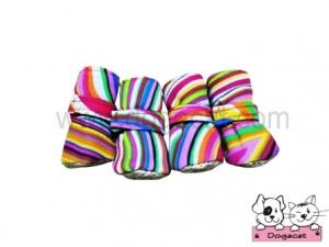 รองเท้าสุนัข รองเท้าหมา รองเท้าแมว สีรุ้ง โทนชมพู