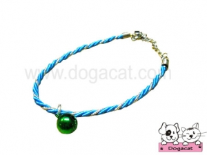 สร้อยคอสุนัข สร้อยคอแมว สร้อยคอหมา เชือกเกลียวจี้เพชรV2 สุนัข แมว สีฟ้า