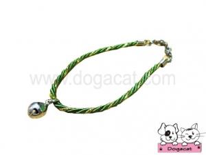 สร้อยคอสุนัข สร้อยคอแมว สร้อยคอหมา เชือกเกลียวจี้เพชรV2 สุนัข แมว สีเขียว
