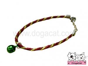 สร้อยคอสุนัข สร้อยคอแมว สร้อยคอหมา เชือกเกลียวจี้เพชรV2 สุนัข แมว สีแดง