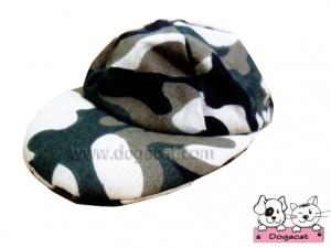 หมวกแกปสุนัข หมวกแกปหมา หมวกแกปน้องหมา หมวกแกปแมว ลายทหาร สีเขียว