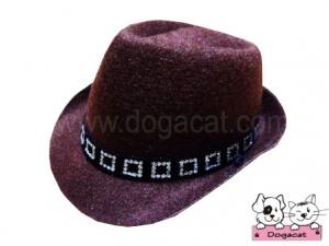 หมวกสุนัข หมวกหมา หมวกน้องหมา หมวกแมว คาวบอยV2 สีน้ำตาลเข้ม