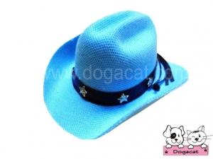 หมวกสุนัข หมวกหมา หมวกแมว หมวกน้องหมา คาวบอยV3 สีฟ้า