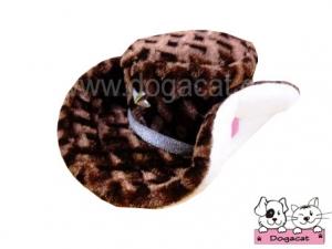 หมวกสุนัข หมวกหมา หมวกแมว ทรงปีกบานลาย สีน้ำตาล