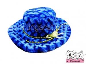หมวกสุนัข หมวกหมา หมวกแมว ทรงปีกบานลาย สีน้ำเงิน