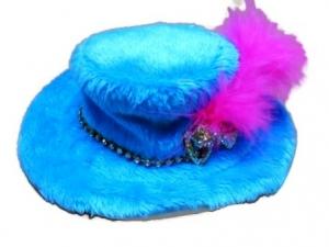 หมวกสุนัข หมวกหมา หมวกแมว ทรงปีกบาน สีเฟ้า