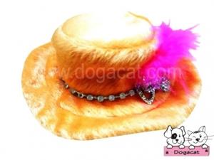 หมวกสุนัข หมวกหมา หมวกน้องหมา หมวกแมว ทรงปีกบาน สีส้ม