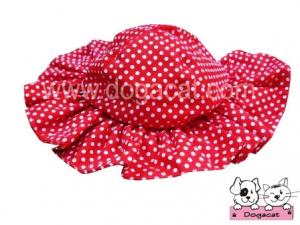 หมวกสุนัข หมวกหมา หมวกแมว ทรงหมวกตุ๊กตา สีแดง