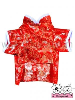 เสื้อสุนัข เสื้อหมา เสื้อน้องหมา เสื้อผ้าหมา เสื้อแมว เสื้อผ้าสุนัข ชุดจีน สีแดง