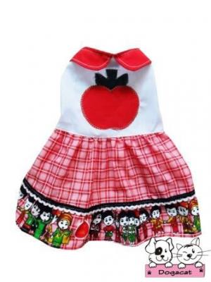 เสื้อสุนัข เสื้อหมา เสื้อน้องหมา เสื้อผ้าหมา เสื้อแมว เสื้อผ้าสุนัข เดรสลายแอปเปิ้ล โทนแดง