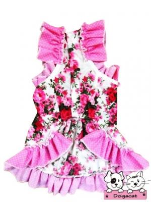 เสื้อสุนัข เสื้อน้องหมา เสื้อหมา เสื้อผ้าหมา เสื้อแมว เสื้อผ้าสุนัข ชุดเดรส ลายดอก สีชมพู v2
