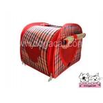 กระเป๋าหมา กระเป๋าแมว ทรงโค้ง ลายสก๊อต สีแดง