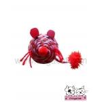 ของเล่นแมว ตุ๊กตาหนูเชือกสาน ชมพูแดง