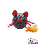 ของเล่นแมว ตุ๊กตาหนูเชือกสาน ฟ้าแดง