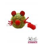ของเล่นแมว ตุ๊กตาหนูเชือกสาน เหลืองเขียว