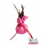 ของเล่นแมว ถุงแคทนิปขนไก่ สีชมพู