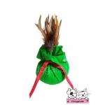 ของเล่นแมว ถุงแคทนิปขนไก่ สีเขียว