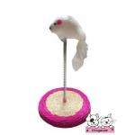 ของเล่นแมว แท่นตบสีชมพู ตุ๊กตาหนู