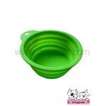 ชามสุนัข แมว แบบพับได้ สีเขียว