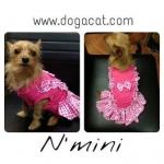 reviewน้องมินิ เสื้อสุนัข เดรสเอี๊ยมยืด ลายตุ๊กตา สีชมพู