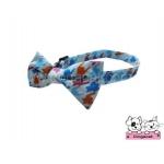 ปลอกคอสุนัขหูกระต่าย ลายชิโนริสีฟ้า