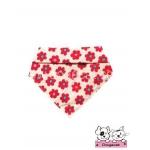 ผ้าพันคอสุนัข ผ้าพันคอแมว สีครีม ลายดอก