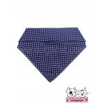 ผ้าพันคอสุนัข ผ้าพันคอแมว สีน้ำเงินจุดขาว
