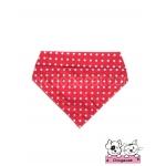 ผ้าพันคอสุนัข ผ้าพันคอแมว สีแดงจุดขาวใหญ่