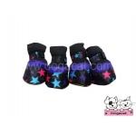 รองเท้าสุนัข สีดำ ลายดาวหลากสี