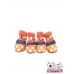 รองเท้าสุนัข สีส้ม ลายจุดขาว