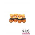 รองเท้าสุนัข สีส้ม ลายจุดดำเล็ก