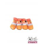 รองเท้าสุนัข สีส้ม ลายหัวใจสีส้ม