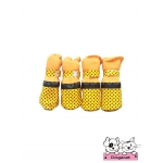 รองเท้าสุนัข สีเหลือง ลายจุดดำเล็ก