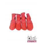 รองเท้าสุนัข สีแดง ลายตารางบุ