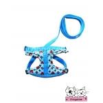 สายจูงสุนัข สายจูงแมว ลายมิกกี้ สีฟ้า
