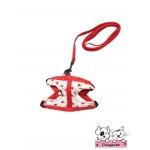 สายจูงสุนัข สายจูงแมว สีขาวลายหัวใจเล็กสีแดง