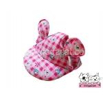 หมวกสุนัขมีหู ลายตุ๊กตา สีชมพู