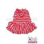 เสื้อสุนัข เสื้อแมว เดรสลายขวาง ขาวแดง