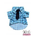 เสื้อสุนัข เสื้อแมว เชิ๊ตลายสก๊อตสีฟ้า มีไทด์