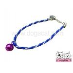 สร้อยคอสุนัข สร้อยคอแมว สร้อยคอหมา เชือกเกลียวจี้เพชรV2 สุนัข แมว สีน้ำเงิน