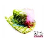 หมวกสุนัข หมวกหมา หมวกแมว ทรงปีกบานลาย สีเขียว