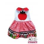 เสื้อสุนัข เสื้อแมว เดรสลายแอปเปิ้ล โทนแดง